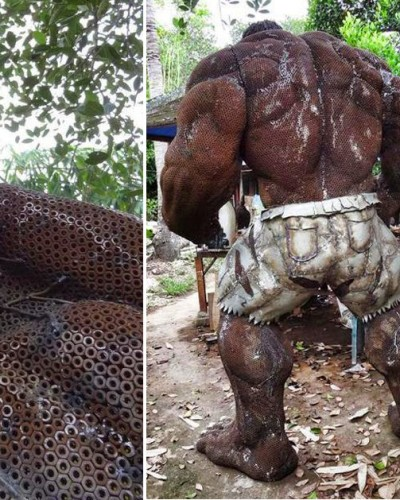 Amazing hulk statue created from scrap metal